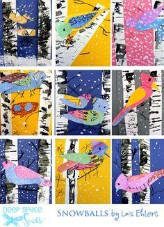 Winter-Bird-art-lesson Stunning art for kids.