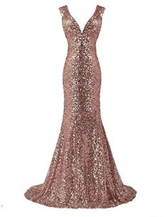 Ainidress Damen Langes Abendkleid Meerjungfrau V-Ausschnitt