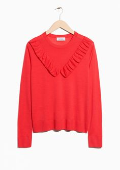 & Other Stories image 1 of Merino Wool Frills Knit in Red