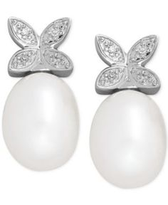 Cultured Freshwater Pearl (9 x 7mm) and Diamond Accent Butterfly Stud Earrings in Sterling Silver - Silver