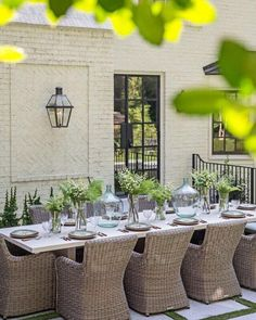 Outdoor dining table | Outdoor tablescapes | Wicker outdoor furniture