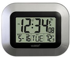 La Crosse Technology Atomic Digital Wall Clock with Indoor Temperature, Silver Digital Wall, Digital Alarm Clock, Atomic Wall Clock, Wall Clocks, Atomic Time, Wall Clock With Temperature, La Crosse, Daylight Savings Time, Black Walls