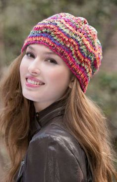 Rainbow Waves Hat Free Knitting Pattern from Red Heart Yarns