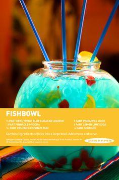 Fishbowl recipe with DeKuyper Blue Curacao!