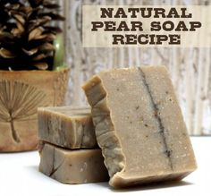 This natural homemade Pear Soap Recipe is made with real pear and the finished soap bars make lovely homemade Christmas gifts!