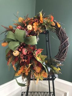 Fall Leaf and Pumpkin Grapevine Wreath designed by mommykimstyle Diy Wreath, Grapevine Wreath, Wreath Fall, Tulle Wreath, Burlap Wreaths, Summer Wreath, Mesh Wreaths, Grapevine Leaf, Autumn Wreaths For Front Door