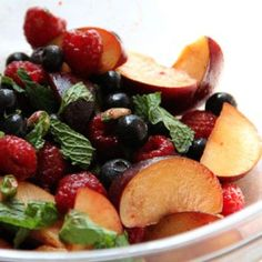 Celebrate National Pistachio Day with this 90-calorie Red and Black Fruit Salad recipe. #nuts #healthyeating | health.com