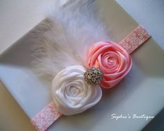Pink and White Rosette Baby Headband with Feathers for Photo Props - Infant - Toddler