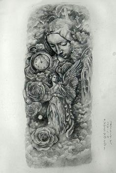 치카노느낌의 멋진 블랙앤그레이타투 도안 : 네이버 블로그 Chicano Tattoos, Arm Tattoos, Sleeve Tattoos, Cool Tattoos, Tattoo Design Drawings, Tattoo Sketches, Drawing Sketches, Tattoo Designs, Religious Tattoos