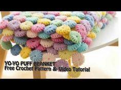 Crochet Video, Free Crochet, Knit Crochet, Crochet Hats, Puff Blanket, Afghan Stitch, Indian Henna, Manta Crochet, Yarn Colors