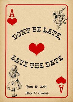 Alice in Wonderland Save the Date Card Vintage Stile by StudioDMD