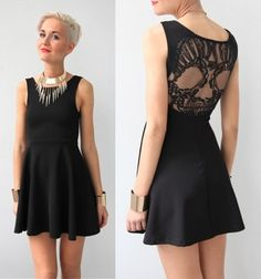 Skull lace back skater dress