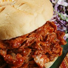 This slower cooker BBQ pork sandwich recipe is easy, healthy, and super tasty! Set it and forget it, come to an amazing BBQ dinner.