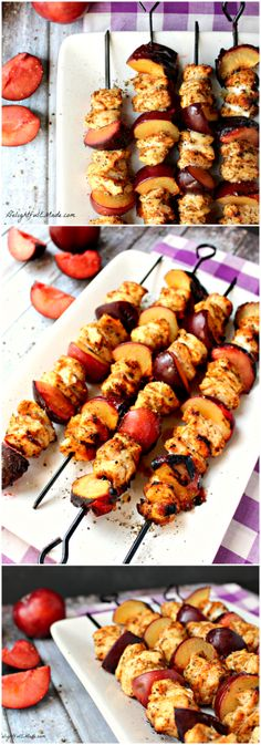Grilled Chicken and Plum Skewers - DelightfulEMade.com | Healthy, easy, delicious dinner on the table in under 30 min.  So yummy!!