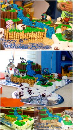 A Skylander birthday cake I made for my son's 8th birthday. I used ideas from Pinterest to put together a cake that mimicked some of the environments in the game. It was a big hit and not that difficult to put together. I used bar chocolate candies from Aldi, Pirouline-style wafers, and large roasting marshmallows. The water and grass were colored vanilla icing. I put small circles of wax paper on the cake to place Skylander figures for the party. Everyone loved it and thought it was…