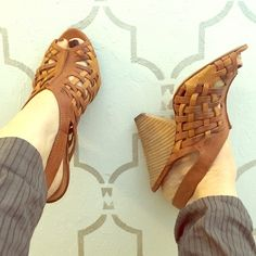 Miss Sixty Leather Calypso sandals Two tone brown criss cross leather, cute wedge heel. Miss Sixty Shoes Sandals