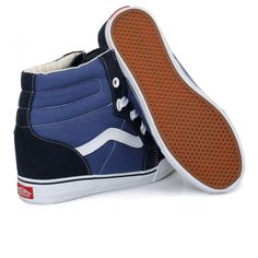 VANS SK8 HI WEDGE NAVY TRUE WHITE TOP WOMENS 10 SHOES MENS 8.5 NIB SKATE NEW