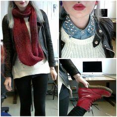 Spiked Denim Shirt, New Look Cream Knit Jumper, Dr. Martens Doc Martens (Red), New Look Plain Black Leggings, New Look Red Chunky Knit Scarf, New Look Leather Jacket