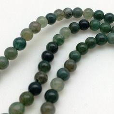 25 perles agate moss 4mm - ronde - gemme pierre fine