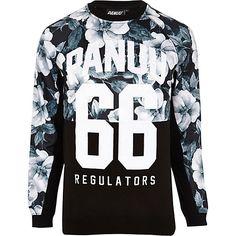 Black Panuu floral varsity sweatshirt - branded hoodies / sweatshirts - hoodies / sweatshirts - men