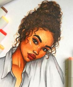 ▷ ideas for girls draw for inspiration - drawing a curly girl, face mad. - Watercolor - ▷ ideas for girls draw for inspiration – drawing a curly girl, face made up with freckle - Curly Hair Cartoon, Curly Hair Drawing, As Built Drawings, Easy Drawings, Black Girl Art, Art Girl, Vintage Stickers, Art Du Croquis, Brown Curly Hair
