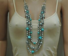 Bib Necklace Grey and Turquoise Necklace  Layered necklace