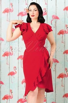 Miss Candyfloss Red Pencil Wrap Dress 100 21 18030 20160302 1W