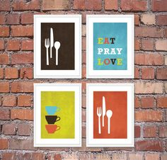 Modern Kitchen Wall Art Print Set - Inspirational Eat Pray Love - (4) 5 x 7 Prints Brown Blue Lime Orange on Etsy, $28.00