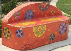Laurel True. True Mosaics.Kaleidoscope Benches (9 total), 2007  Kaleidoscope Park, Rose Garden, Brentwood, CA  Ceramic tile, glass and mirror on sculptural base  Commissioned by Pulte Homes