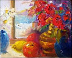"""Paint Dance: """"Window with a view""""-palette knife painting, 8x10, roses, fruit , lemon, windows with a water view"""