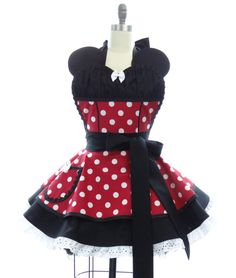 Retro Apron - Ms. Mouse Sexy Womans Aprons - Vintage Apron Style - Polka Dots Pin up Sweetheart Rockabilly Cosplay