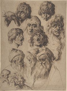 Jacob de Gheyn II - Study of eleven heads, ca. 1604-1620s, Pen and three shades of brown ink, 31.8 x 23.3 cm | The Metropolitan Museum of Art, New York