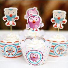 Birthday Owl Cupcake Set