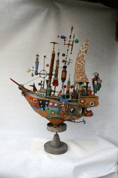 Gerard collas ship assemblages, sculpture