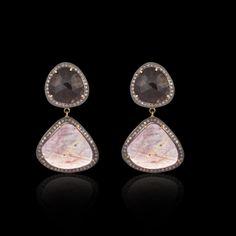 Black  Pink Multi Sapphire - 2 Tier Earring - JYOTI  #black #pink #multi #sapphire #tier #earring #designer #JYOTI #couture #jewelry