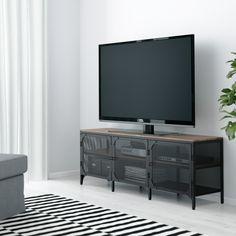 Wandmeubel Tv Praxis.Fjllbo Tv Unit Black Kast Finn 3 Lades Licht Eikenkleur 40x71x196
