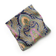 Silk Medallion Paisley Pocket Square - Navy (http://noeliasanchez.jhilburn.com/products/silk_medallion_paisley/navy) $49