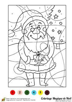 Illustration d'un père noël tenant un cadeau entre ses mains, à colorier