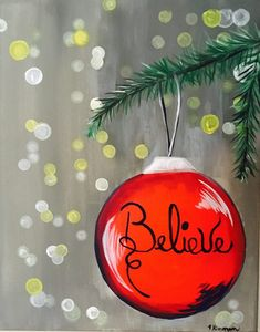 Christmas paintings on canvas - How To Paint An Ornament With Blurry Lights Tracie's Canvas Tutorials – Christmas paintings on canvas Canvas Painting Tutorials, Easy Canvas Painting, Winter Painting, Diy Canvas, Easy Paintings, Diy Painting, Acrylic Canvas, Indian Paintings, Tree Paintings