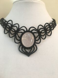 Rose Quartz Gemstone Macrame Necklace https://www.etsy.com/shop/KristaBellerDesigns