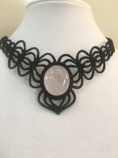 Rose Quartz Gemstone Macrame Necklace https://www.etsy.com/shop/KristaBellerDesigns