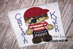 Boys Pirate Applique shirt-Pirate Birthday Shirt-Pirate embroidery shirt
