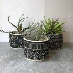 B L A C K S T O N E : ceramic succulent planter set