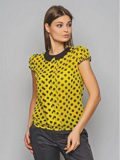 Chiffon blouse. Polka dot blouse. Contrast blouse. by Annaclothing