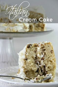 This Italian Cream Cake is a deliciously rich cake with coconut and cream. An incredible southern dish | Bakerette.com