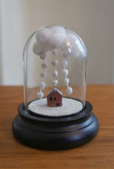 Mini glass dome the Winter house by Moon & Wood