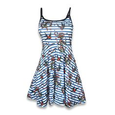 Beautiful nautical style pin up dress. Featuring anchors and birds on top of a white and blue stripe background.