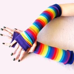 Kids Rainbow Stripes Arm Warmers Winter Sleeves Gloves Toddler Girls. Kids Rainbow striped arm warmers to keep warm and cozy. Sized for Toddlers, and big kids. The colors are royal blue, aqua, yellow, orange, red, purple and lime green. Gloves in comfortable stretch fabric from Europe. Bright stripes edged in rainbow colors in This fabric stretches four ways and is so soft. The cotton knit blend feels delicious. Big girls and little girls can match. Each pair is edged in ribbing to keep…