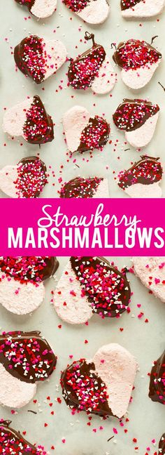 These Homemade Strawberry Marshmallows are fun and simple to make, and have amazing strawberry flavor. No high fructose corn syrup or dyes! A fun treat for Valentine's day or any other time of year! My Funny Valentine, Valentines Day Treats, Valentines Recipes, Valentine Stuff, Kids Valentines, Valentine Ideas, Delicious Desserts, Dessert Recipes, Candy Recipes
