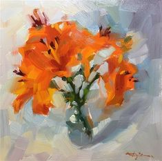 """Daily Paintworks - """"Lilies"""" - Original Fine Art for Sale - © Katia Kyte"""